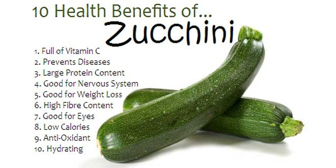 Health benefits of having zucchini