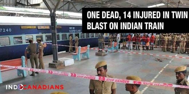 One dead, 14 injured in twin blasts on Indian train
