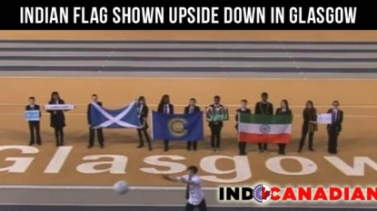 Indian flag shown upside down in Glasgow Commonwealth Games