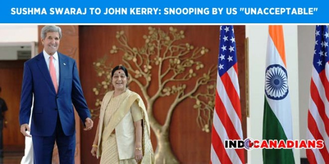 "Sushma Swaraj to John Kerry: Snooping by US ""unacceptable"""