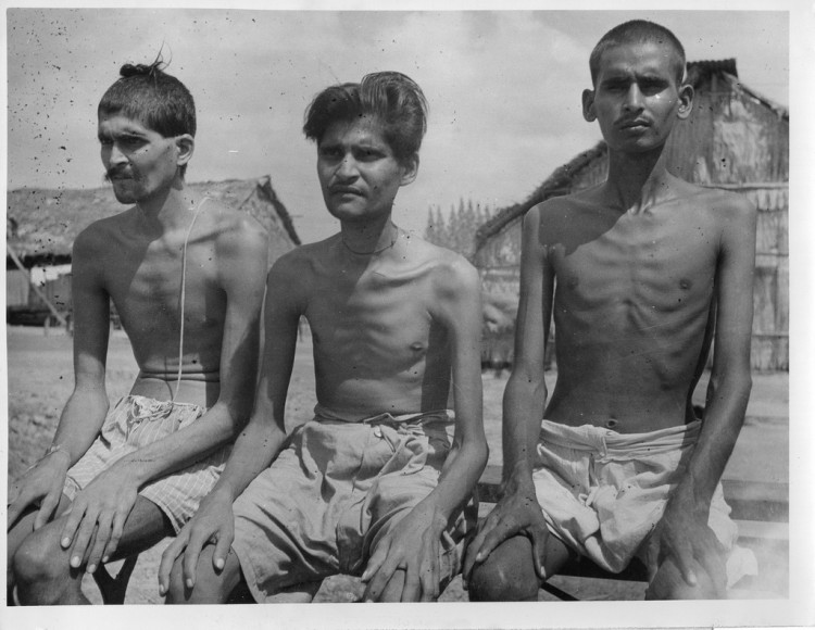 Indian prisoners of war in Japanese prison camp in Singapore lived on starvation rations for months