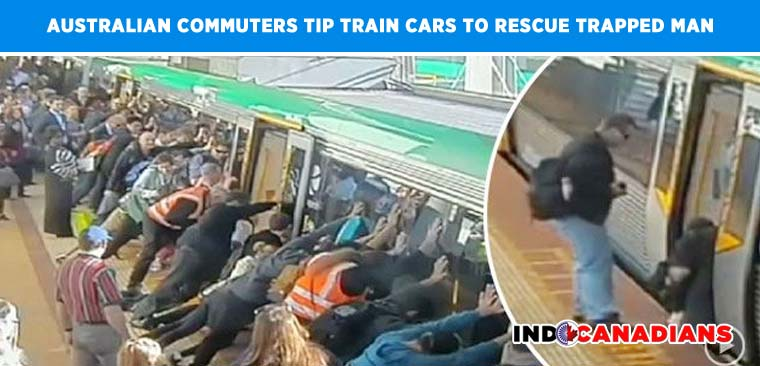 Australian commuters tip train cars to rescue trapped man