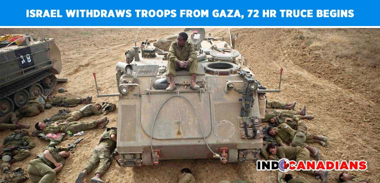 Israel withdraws troops from gaza, 72 hr truce begins