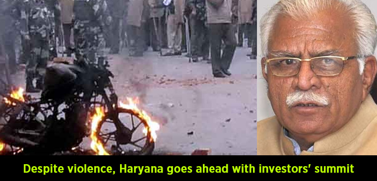 Despite violence, Haryana goes ahead with investors' summit