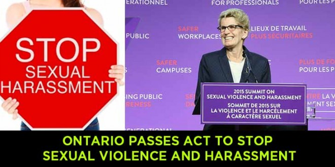 Ontario Passes Act to Stop Sexual Violence and Harassment