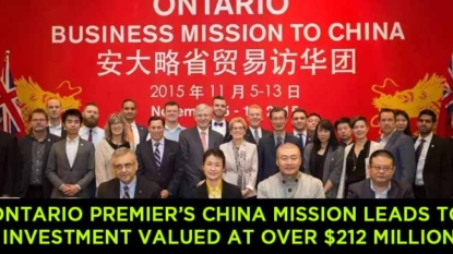Ontario Premier Kathleen Wynne's China Mission Leads to Investment Valued at Over $212 Million