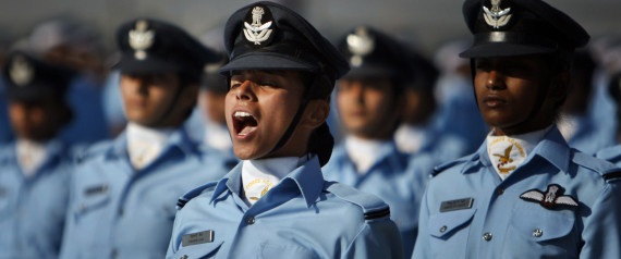 Indian Air Force (IAF) cadets march during their passing out ceremony at the Air Force Academy in Dundigal, 40 kilometers (25 miles) north of Hyderabad, India, Saturday, Dec. 14, 2013. A total of 202 personnel including 37 women graduated as flight cadets on Saturday from the academy reputed to be the premier training institution of IAF, a press release said. (AP Photo/Mahesh Kumar A.)