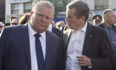 Ontario Premier Doug Ford, left, and Toronto Mayor John Tory